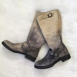 Frye Distressed Leather Ombré Buckle Boots